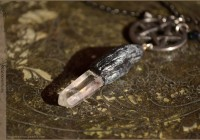 Crystal wand pentacle necklace