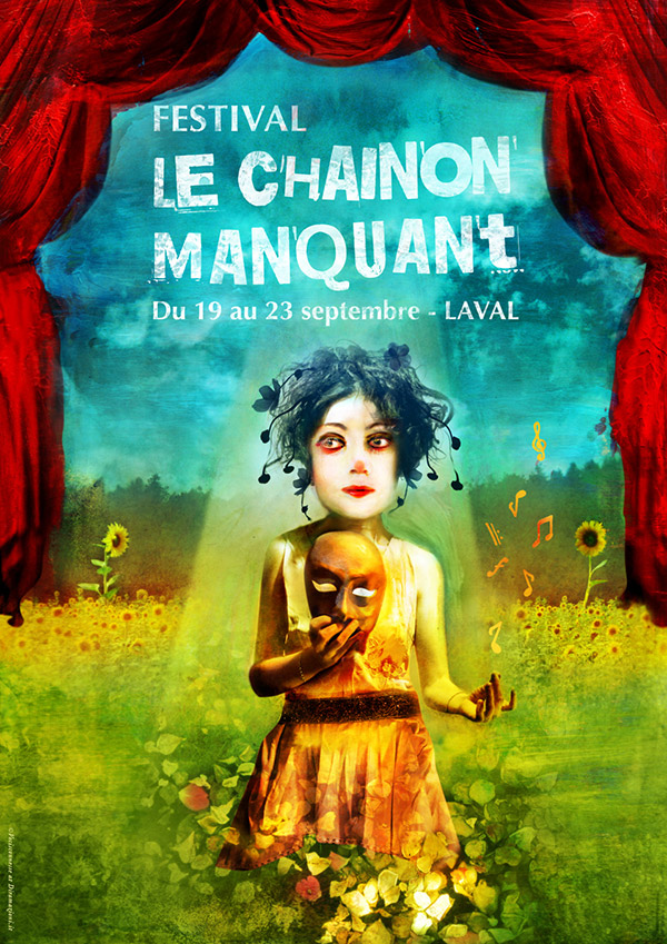 "Poster illustration for the french theatre Festival ""Le Chainon Manquant"", commissioned by Le Théâtre de Laval. Illustration by Vocisconnesse"